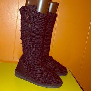 BearPaw Black Crochet Sweater Boots